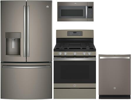 4-Piece Kitchen Package with GFD28GMLES 36 French Door Refrigerator  JGB700EEJES 30 Freestanding Gas Range  JVM7195EKES 30 Over the Range