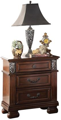 Manfred Collection 22773 25 inch  Nightstand with 3 Drawers  English Dovetail Drawer Back  Burnished Silver Drawer Pulls and Decorative Carvings in Walnut