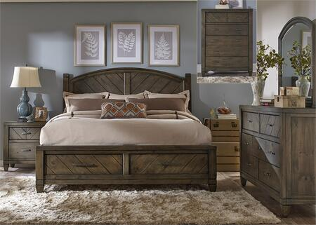 Modern Country Collection 833-BR-QSBDMCN 5-Piece Bedroom Set with Queen Storage Bed  Dresser  Mirror  Chest and Night Stand in Harvest Brown