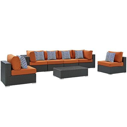 Sojourn Collection EEI-2379-CHC-TUS-SET 7-Piece Outdoor Patio Sunbrella Sectional Set with 4 Armless Chairs  Coffee Table and 2 Corner Sections in Canvas