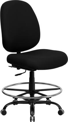 WL-715MG-BK-D-GG HERCULES Series 400 lb. Capacity Big and Tall Black Fabric Drafting Stool with Extra WIDE
