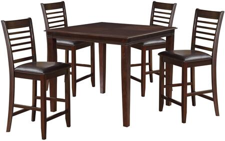 Pasha Collection 71195 5 PC Counter Height Dining Set with Square Table  Armless Chairs  Bycast PU Leather Upholstery and Birch Veneer Materials in Espresso