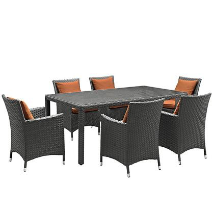 Sojourn Collection EEI-2271-CHC-TUS-SET 7-Piece Outdoor Patio Sunbrella Dining Set with 6 Armchairs and Dining Table in Canvas