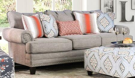 Tallulah SM8130-SF Sofa with Solid Wood Tapered Legs  Nail Head Accents and Woven Fabric Upholstery in