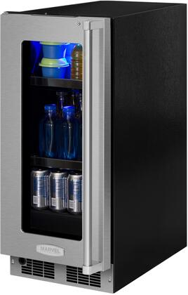 Marvel MP15BC4L 15 Wide 6-Bottle and 35-Can Built-in Beverage Center with LED L, Stainless Frame Glass Door