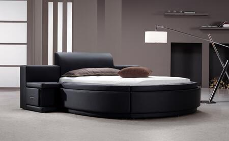 Modrest Owen VG2TAU01-15-Q HX001-35 Queen Size Round Bed with 2 Nightstands  Storage and Leatherette Upholstery in HX001-35