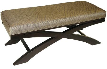 77520 49 Go Go X Bench with Metallic Woven Linen Upholstery and Solid Wood
