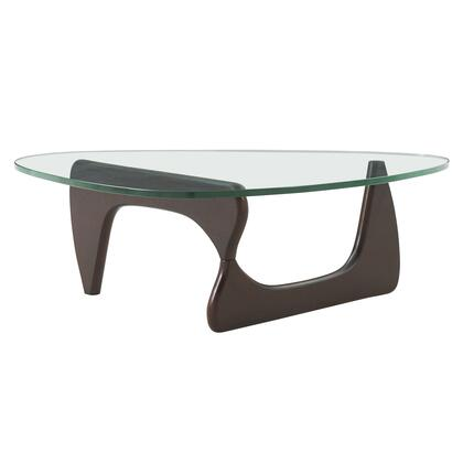 Atwood Collection 6300045 Coffee Table with Tempered Glass Top  Wood Base and Solid Ash Wood Construction in