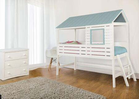 Omestad Collection CM7135BEDSET1 2 PC Bedroom Set with Twin Size Loft Bed + Chest in White and Light Blue