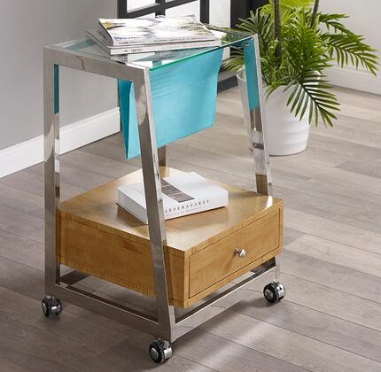 Geo LB-GEO-FC19 19 inch  File Cart with Sliding Tempered Glass Top  Bottom Drawer  Casters and Polished Metal Frame in Chrome