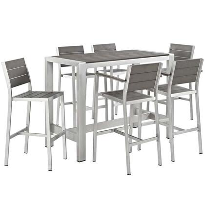 Shore Collection EEI-2587-SLV-GRY-SET 7-Piece Outdoor Patio Aluminum Dining Set with Bar Table  4 Bar Stools and 2 Armless Bar Stools in Silver and
