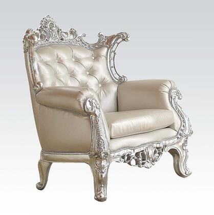 Sanjay 59125 30 inch  Accent Chair with Rolled Arms  Cabriole Legs  Button Tufted Back  Carved Wood Frame and PU Leather Upholstery in Silver