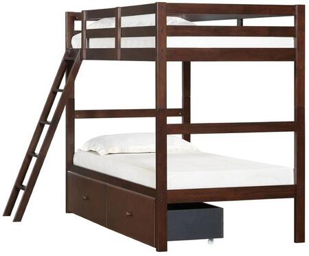 3000-37S Mission Hills Twin Bunk Bed and Storage Drawer with Distressed Detailing and Block Feet in
