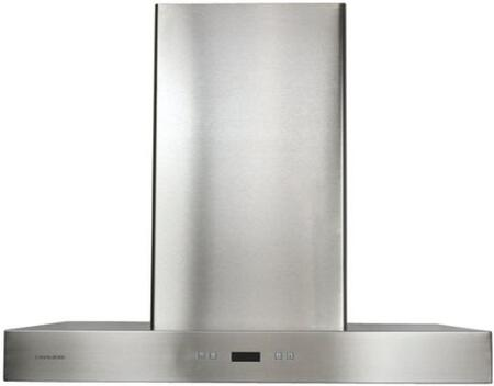 "SV218Z2I36 36"" Island Mounted Range Hood with 900 CFM  Touch Sensitive LED Control Panel  Dishwasher Safe  6 Speed Levels with Timer Function and 6"" Round Duct"