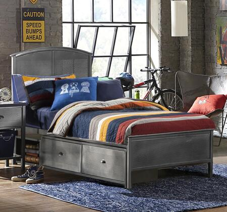 1265BFRPS Urban Quarters Full Size Panel Storage Bed with Rails Included  Storage Drawers  Punched Hole Detailing and Metal Construction in Black Steel