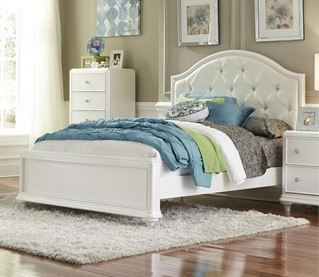 Stardust Collection 710-YBR-FPB 83 inch  Full Panel Bed with White Vinyl Upholstery  Crystal Buttons and Turned Bun Feet in Iridescent White