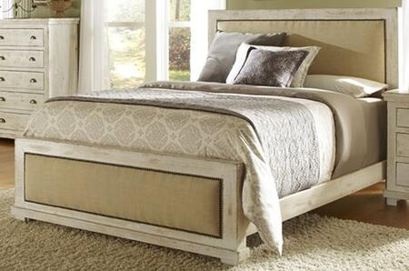 Willow P610-34-35-78 Queen Upholstered Bed with Headboard  Footboard and Side Rails in Distressed