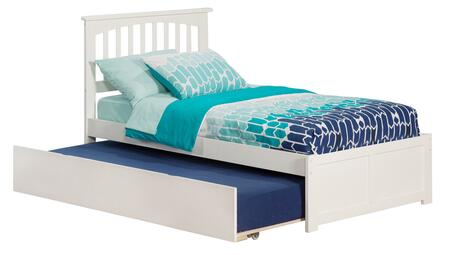 AR8722012 Mission Twin Platform Bed with Flat Panel Foot Board and Twin Size Urban Trundle Bed in