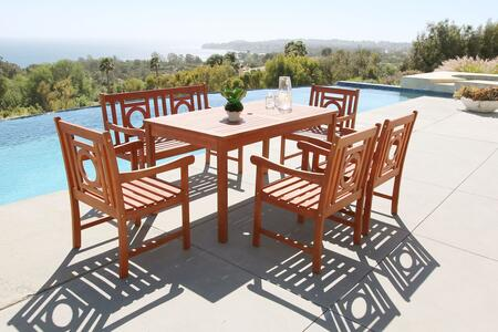 Malibu Collection V98set56 6 Pc Outdoor Dining Set With 4-foot Bench  Rectangular Table  4 Armchairs  Umbrella Hole And Eucalyptus Hardwood Construction In