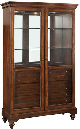 Dallin Collection 90105 47 inch  Curio Cabinet with 2 Glass Doors  6mm Tempered Clear Glass Shelves  6 Felt Lined Drawers and Touch Light Included in Cherry