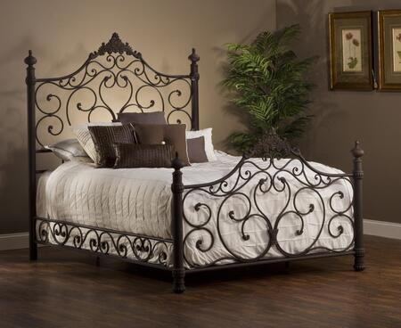 Baremore 1742BKR King Sized Bed with Headboard  Footboard and Rails  Turned Posts  Tubular Steel Construction  Scrolled and Romantic Design in Weathered Dark