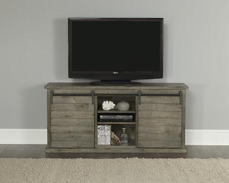 Huntington Collection E762-64G 64 Inch Console with Distressed Detailing  Sliding Door and Barn Door Hardware in Distressed Gray