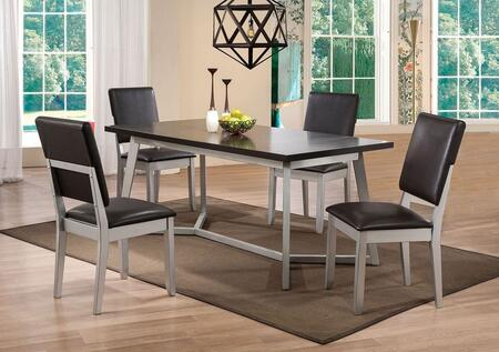 Norton Collection 714255 5 PC Dining Room Set with Dining Table + 4 Side Chairs in Espresso and Distressed Silver