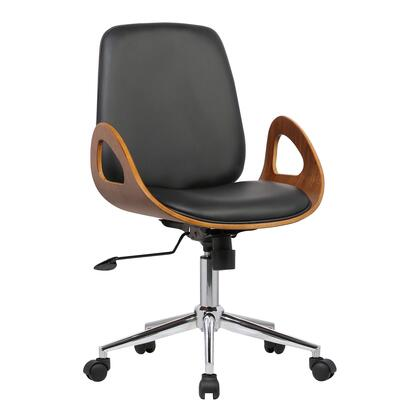 Wallace Collection LCWAOFCHBLACK Mid-Century Office Chair in Chrome finish with Black Faux Leather and Walnut Veneer