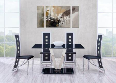 D551DT4D803DCBL 5-Piece Dining Room Set with Dining Table and 4 Dining Chairs in Black and