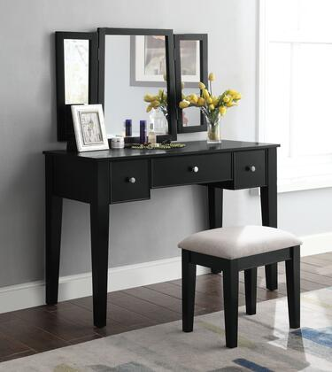 Severus Collection 90360 3 PC Vanity Set with 3 Drawers  Tapered Legs  Metal Hardware  Tan Fabric Seat Stool  Tri-Fold Mirror  Rectangular Shaped Vanity Desk