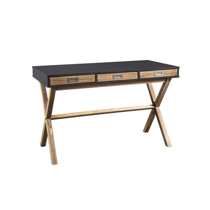 CS92309 Rustic Mid-Century Modern 3-Drawer Barclay Home Office Desk In Dark Grey And Natural