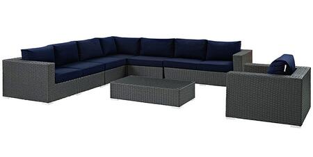 Sojourn Collection EEI-2013-CHC-NAV-SET 7-Piece Outdoor Patio Sunbrella Sectional Set with Left Arm Facing Loveseat  2x Armless Chairs  Corner Chair  Right Arm
