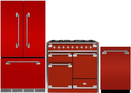 3-Piece Red Kitchen Package with MELFDR23SCR 36 inch  French Door Refrigerator  AEL48DFSCR 48 inch  Freestanding Dual Fuel Range  and AELTTDWSCR 24 inch  Fully Integrated