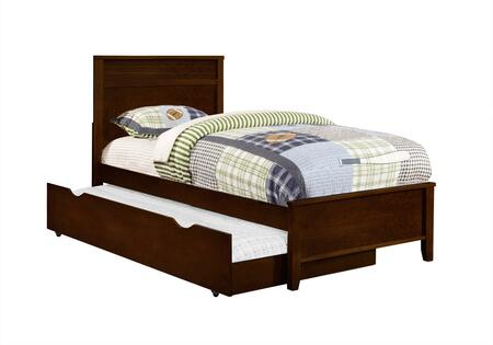 Ashton Collection 400771T+400776 Twin Size Panel Bed with Trundle  Clean Line Design  Low Profile Footboard  Sleek Tapered Legs and Wood Construction in