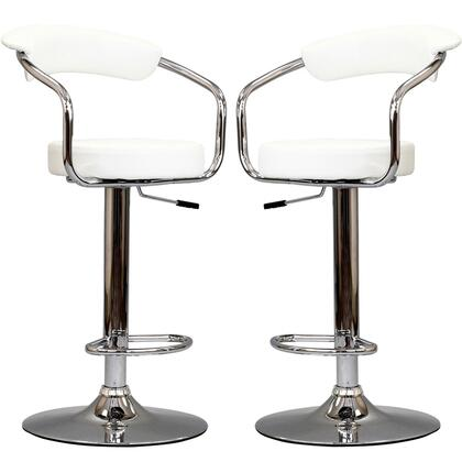 Diner Collection EEI-930-WHI Set of 2 Bar Stools with 360-Degree Swivel Seat  Adjustable Height  Pedestal Base  Footrest Support  Steel Frame and Vinyl