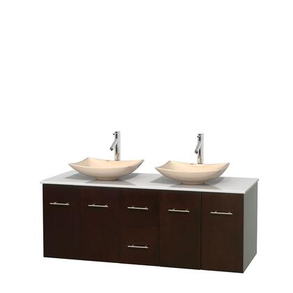 Wcvw00960deswsgs5mxx 60 In. Double Bathroom Vanity In Espresso  White Man-made Stone Countertop  Arista Ivory Marble Sinks  And No