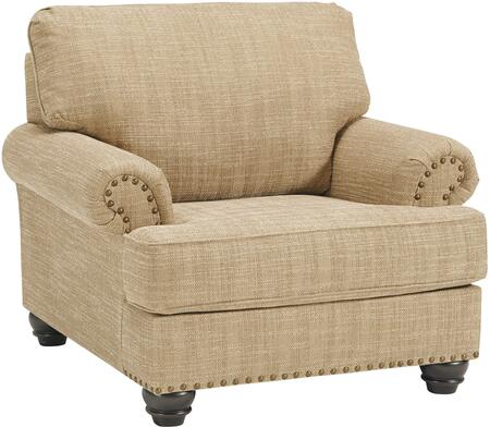 Candoro Collection 1180620 43 inch  Chair with Fabric Upholstery  Nail Head Trims  Rolled Armrests and Short Bun Feet in