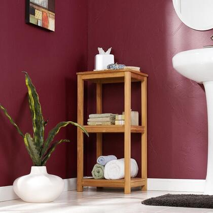 CR8903 Three Tier Tower Light Brown With 3 Slatted Shelves  100% Teakwood & In Light Brown Wooden