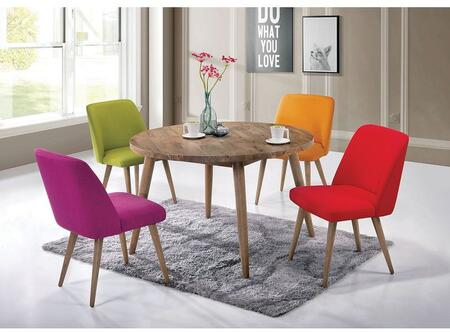Fezzwig CM3877SC-4PK Set of 4 Mid-Century Modern Style Side Chairs with Slim Tapered Legs and Padded Fabric Upholstery in Green  Pink  Red and