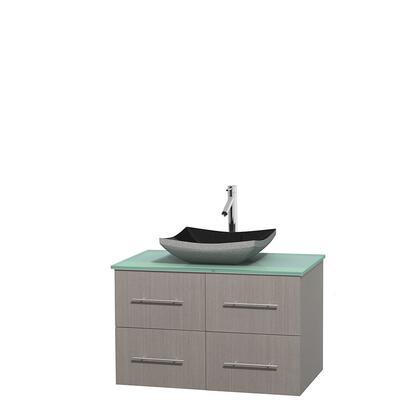 Wcvw00936sgogggs1mxx 36 In. Single Bathroom Vanity In Gray Oak  Green Glass Countertop  Altair Black Granite Sink  And No