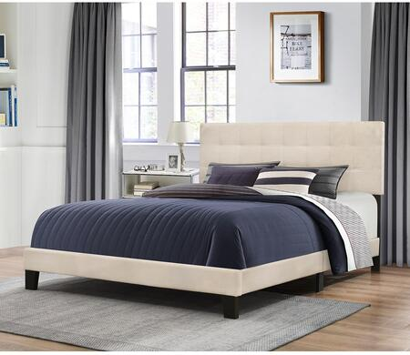 Delaney Collection 2009-502 Queen Size Bed with Headboard  Footboard  Rails  Fabric Upholstery and Low Profile Design in