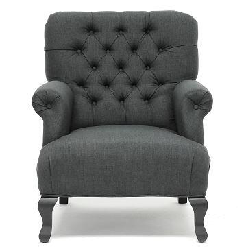 York TOV63108Grey Linen Club Chair with Button Tufted Back  Sturdy Birch Frame and Black Stained Legs in