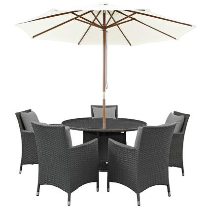 Sojourn Collection EEI-2246-CHC-GRY-SET 7 PC Outdoor Patio Sunbrella Dining Set with 5 Armchairs  Dining Table and Patio Umbrella in Canvas Grey