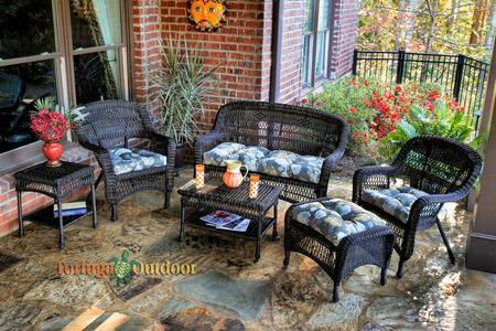 Portside Ps6s-dk Rst Vivpt 6-piece Seating Patio Set With Loveseat  Coffee Table  Side Table  2 Chairs And Ottoman In Dark Roast With Vivienne Putty