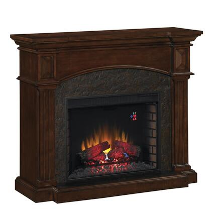 28WM4311-C259 Toledo Fireplace Wall Mantel with Reverse Breakfront Design  Fluted Pilasters and Solid Hardwood Blocks in Premium Cocoa