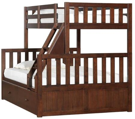 3000-38S Mission Hills Twin on Full Bunk Bed and Storage Drawer with Molding Detailing and Distressed Detailing in