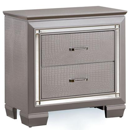 Bellanova Collection Cm7979sv-n 30 Nightstand With 2 Drawers  Crocodile Textured Detail  Diamond Crusted Bar Pull Handles  Solid Wood And Wood Veneers