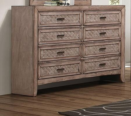 Ireton Collection 26035 59 inch  Dresser with 8 Drawers  Matte Dark Brown Hardware  Rubberwood and Okume Veneer Materials in Caramel