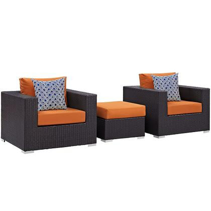 Convene Collection EEI-2363-EXP-ORA-SET 3-Piece Outdoor Patio Sofa Set with Ottoman and 2 Armchairs in Espresso and
