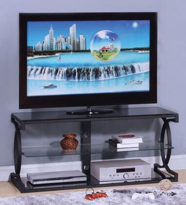 Milo 91128 50 inch  TV Stand with 8mm Tempered Black Glass  6mm Tempered Clear Glass Shelf and Steel Lube in Sandy Black